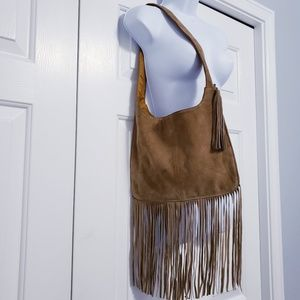 Boho Brown Suede Hobo Shoulder Bag With Fringe
